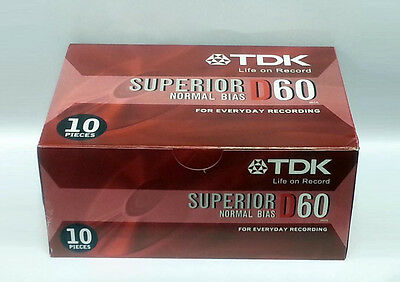 LOT OF 10 TAPES - NEW FACTORY SEALED TDK (60M) AUDIO CASSETTE BLANK TAPES