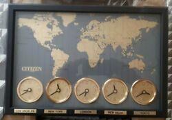 Vintage NOS Citizen Clock - World Time Clock Wall Decor 5 Time Zones Japan