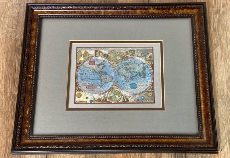 Vintage Windsor Foil Art Old World Map Framed Wood Frame Wall Hanging