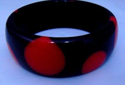Vintage 1950 style Polka Dot Bangle Bracelet Resin Lucite Black Red Rockabilly