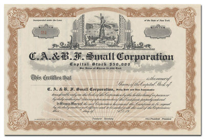 C. A. & B. F. Small Corporation Stock Certificate (Statue of Liberty Vignette)