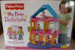 fisher price loving family dollhouse new my first dollhouse no accessories ebay. Black Bedroom Furniture Sets. Home Design Ideas