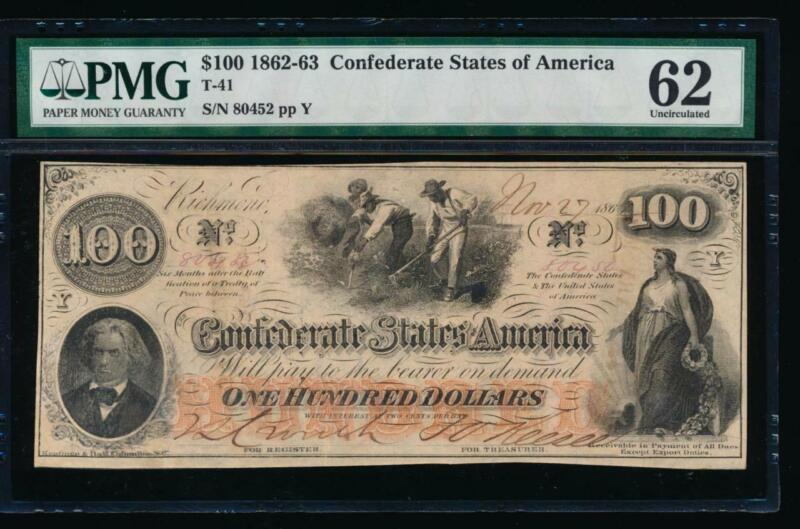 AC T-41 $100 1862 Confederate Currency CSA PMG 62 comment slaves hoeing cotton