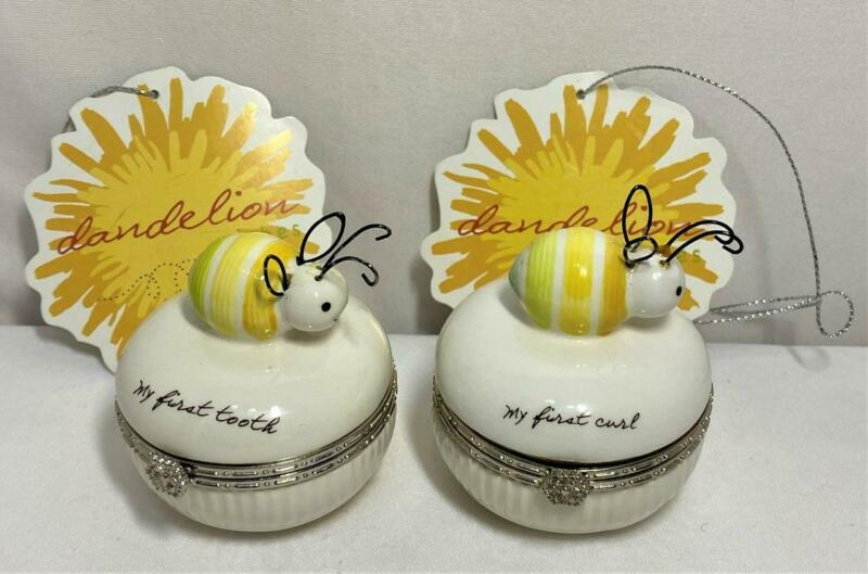 My First Tooth My First Curl Porcelain Bumblebee Dandelion Box Baby Keepsake