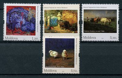 Moldova 2017 MNH Paintings Farm Animals Cows Horses Turkeys 4v Set Art Stamps