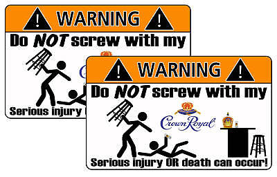 Crown Royal Warning Sticker Bar Pool Game Party Room
