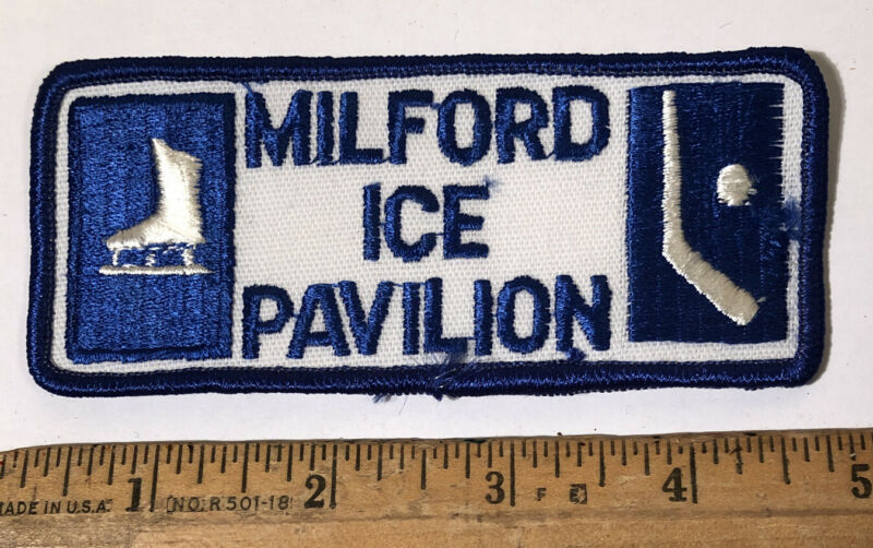 Vintage Milford Ice Rink Pavilion Patch Figure Skating  Hockey Connecticut Arena