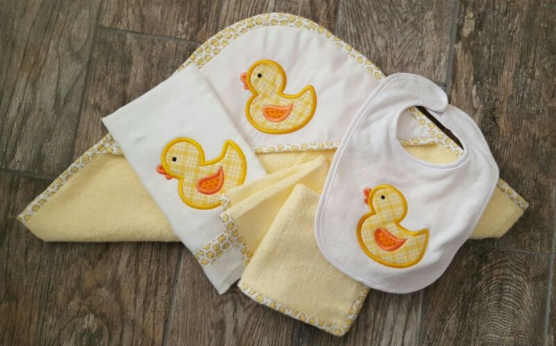 infant bath set yellow ducks - hooded towel, washcloths, bib, burp cloth