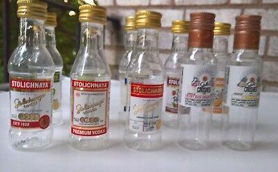 10 EMPTY Different Stolichnaya 50 ml Miniature Plastic Vodka Bottles Collection