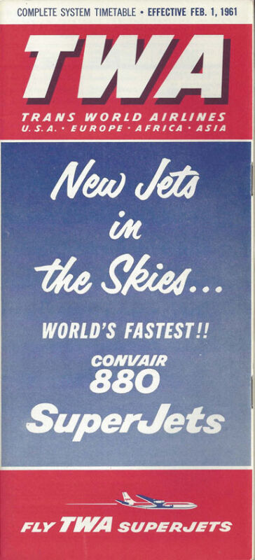 TWA Trans World Airlines system timetable 2/1/61 [0098]