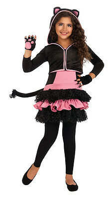 Girls Black & Pink Kitty Hoodie Costume Cat Tutu Dress Child Size Medium 8-10