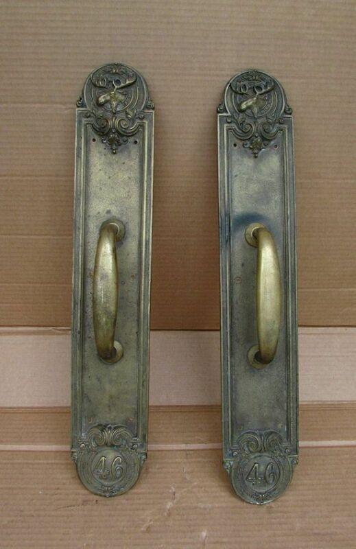 Vintage Bronze Brass Fraternal Moose Lodge Door Pull Handles PAP