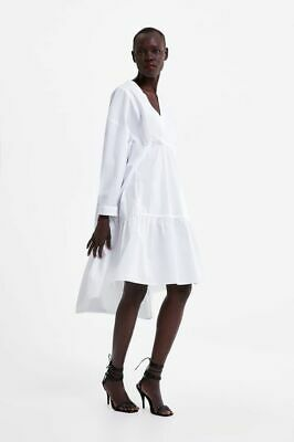 ZARA Loose Fit POPLIN MIDI DRESS  Split NECK   WHITE size M