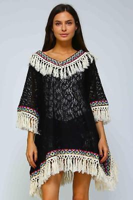 Black Crochet Lace Tassel Fringe Western Desert Boho Caftan Poncho 283 mv Tunic](Western Poncho)