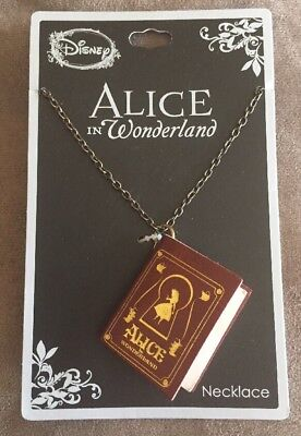 Disney Alice In Wonderland Faux Leather Bound Book Necklace New With Tags!
