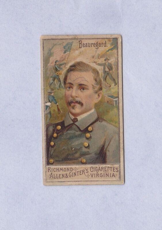 N15 Allen & Ginter cIGARETTES Great Generals SERIES GENERAL BEAUREGARD
