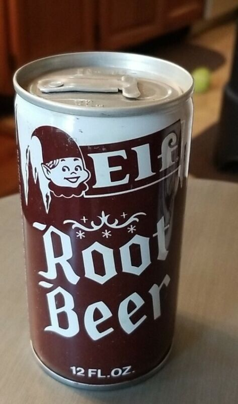 Vintage soda can Elf Root Beer  Pop Empty opened from bottom Hopkins Minnesota