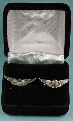 Pilot Wing Cuff Links in Presentation  Gift Box -  Army Aviator Cufflinks