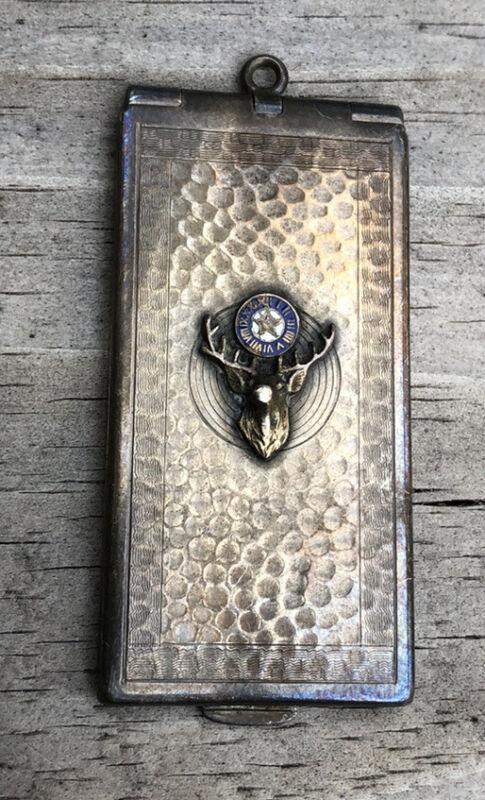Antique BPOE Elks Lodge Card Case Locket Pendant Sterling Silver Monogram GAS