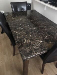 Real Wood Table with Faux marble top