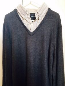 Marks and Spencer Autograph Grey Pullover/Jumper Striped Collar Southbank Melbourne City Preview