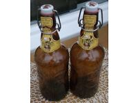 Pair Vintage French Beer Bottles