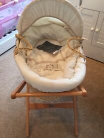 mamas and papas moses basket and rocking stand for sale