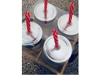 Waitrose Outdoors-Set 4 Mason Glass Cocktail Drinking Jars With Tin Lid & Straws