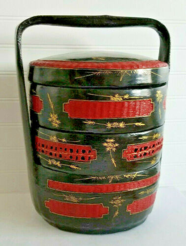 Vintage Chinese Wedding Basket 3 Tier Handled Black Red Bamboo & Lacquer Basket