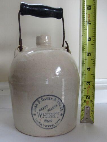 Stoneware Very Small Whisky Jug - Indiana - Scarce - C - 1880
