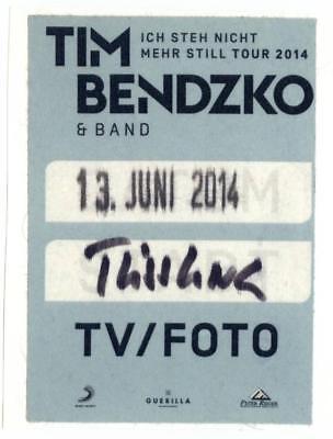 Tim Bendzko alter Konzert-Satin-Pass TV/Foto Ich Steh Nicht Mehr Still Tour 2014 (Stehen Tv)