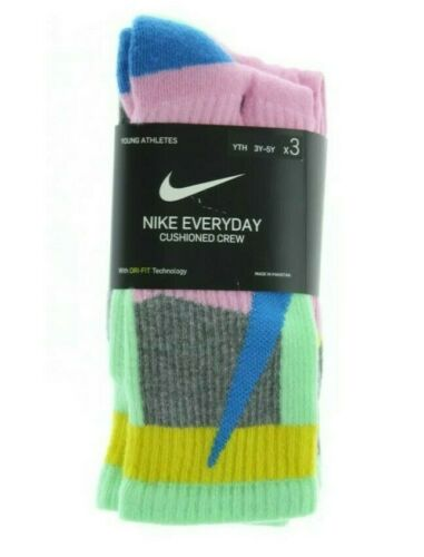 3-in-a-PACK Nike Everyday Cushioned Crew Socks 3Y-5Y S Youth NEW FreeShip