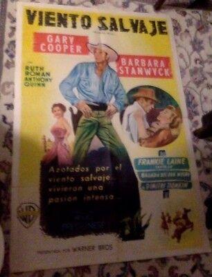 Vintage Spanish Movie Poster. Gary Cooper, Barbara Stanwyck. Blowing Wild