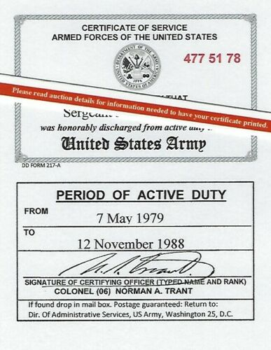 United States Army Honorable Discharge Laminated Card 2 1/8 X 3 3/8