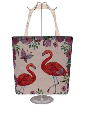 Designer Canvas Tote Bags (SUMMER BEACH CANVAS TOTE BAGS WITH VARIOUS FLAMINGO PRINTED)
