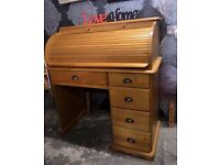 Beautiful Solid Pine Roll Top Desk Bureau Office - Delivery Possible