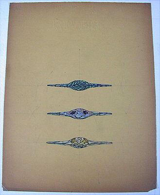 Original alte Entwurfzeichnung von René Lalique um 1900