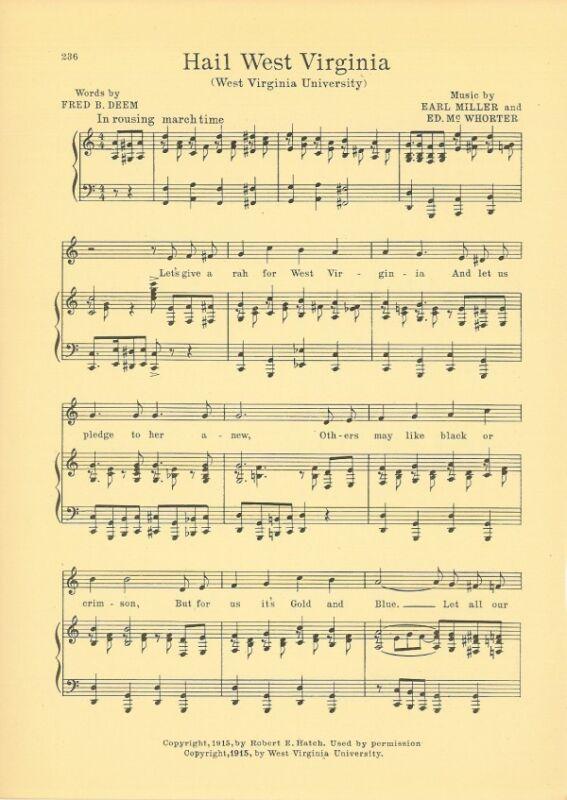 """WEST VIRGINIA UNIVERSITY Vintage Song Sheet c1927 """"Hail! West Virginia"""""""