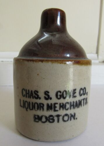 Stoneware Mini Advertising Liquor Merchant Jug - C- 1900
