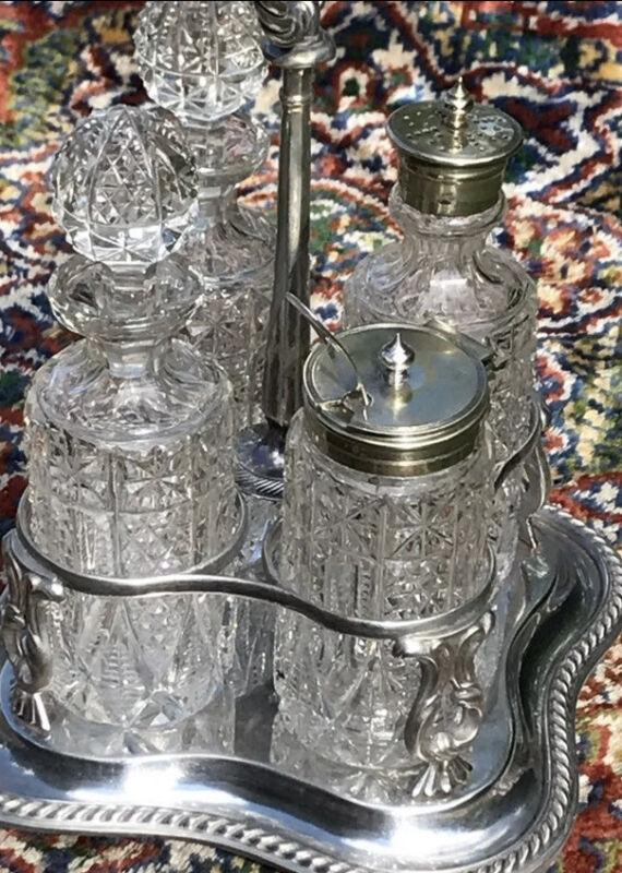 Antique 1865 Elkington Co. Crystal Cruet Set Perfect Condition