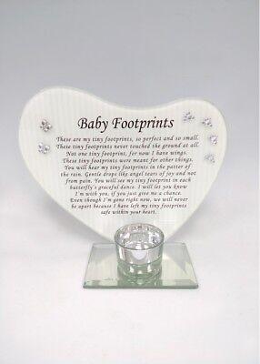 New Memorial Heart Shape Mirror Glass Photo Frame Tealight Holder Poem Tributes - Memorial Glass
