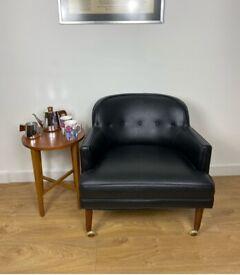 G Plan Petite Black Vinyl Lounge Chair