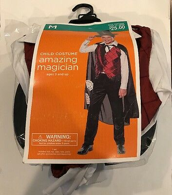 NEW Amazing Magician Top Hat Cape Boys  Halloween Costume. Size Medium (6-8)](Amazing Halloween Costumes For Boys)