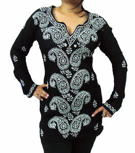 DESIGNER PAISLEY PURE COTTON KURTI-TOP-KURT​A-TUNIC-BLOUSE (Size: XL-3XL) BLACK