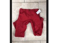 M And S Boys Red Cargo Casual Trousers! Age 14-15 Years! BNWT! RRP £18!