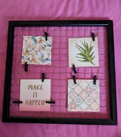 Frame with wire and pegs, wall hanging photo frame