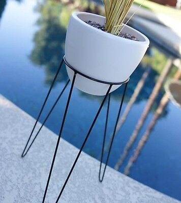 """21"""" MODERN HAIRPIN BASE PLANTER & STAND - MID CENTURY EAMES ERA BULLET STYLE 50s"""