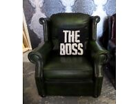 Stunning Chesterfield High Back Chair by Thomas LLoyd in Antique Green Leather - UK Delivery