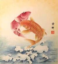 Chinese Traditional Water Painting - Two Fishes - 工筆 Art Eastwood Ryde Area Preview