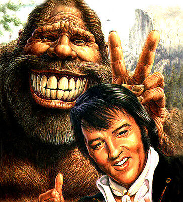 "3.25"" Funny Elvis & Bigfoot STICKER. Sasquatch, Bobo, UFO. Looks good on Bong."
